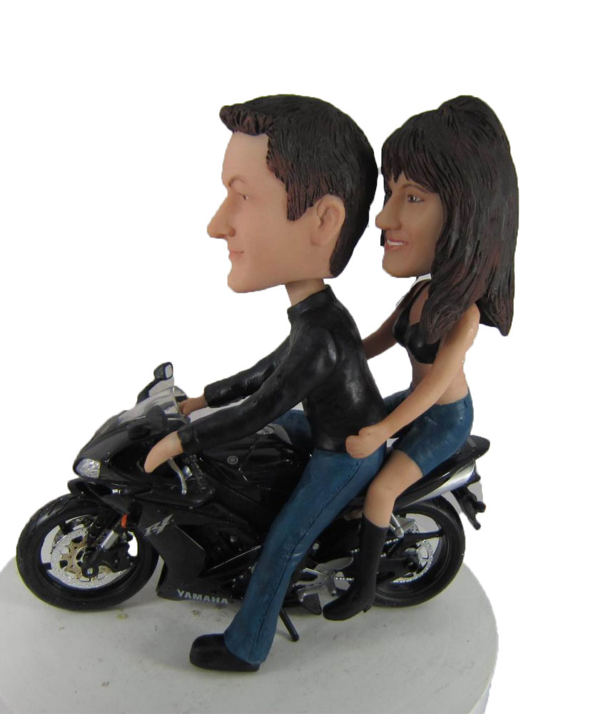Couple On Motorcycle Wedding bobblehead W1035
