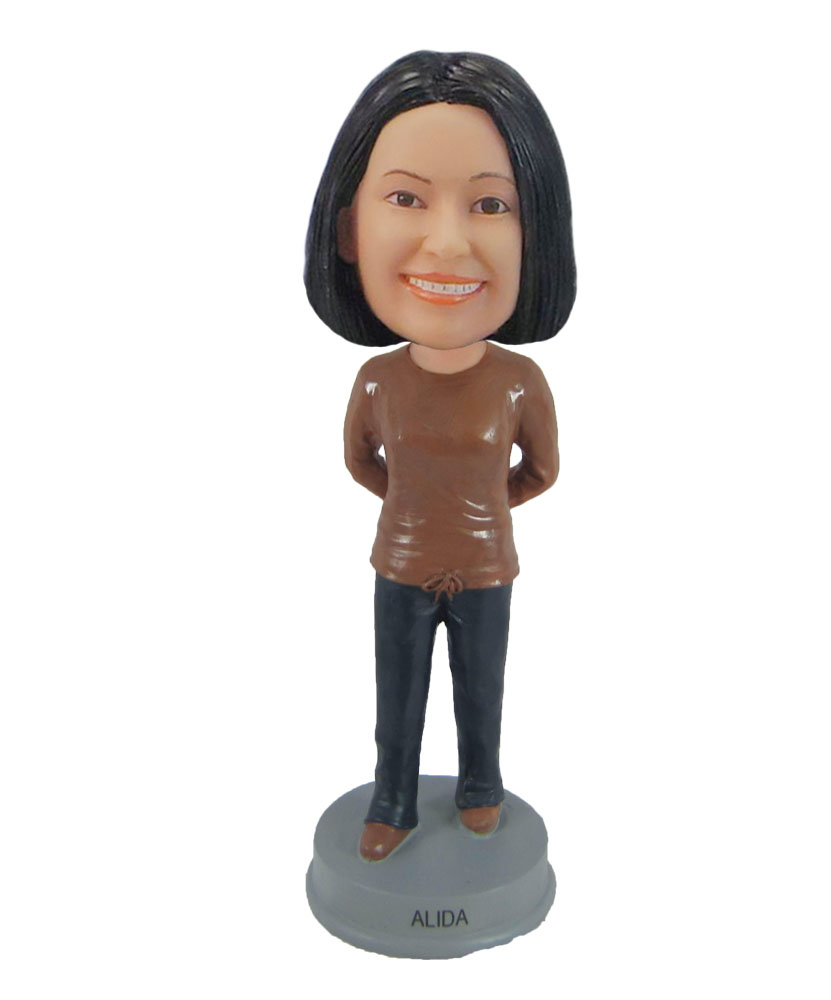 Casual style female grandmother bobblehead doll F869