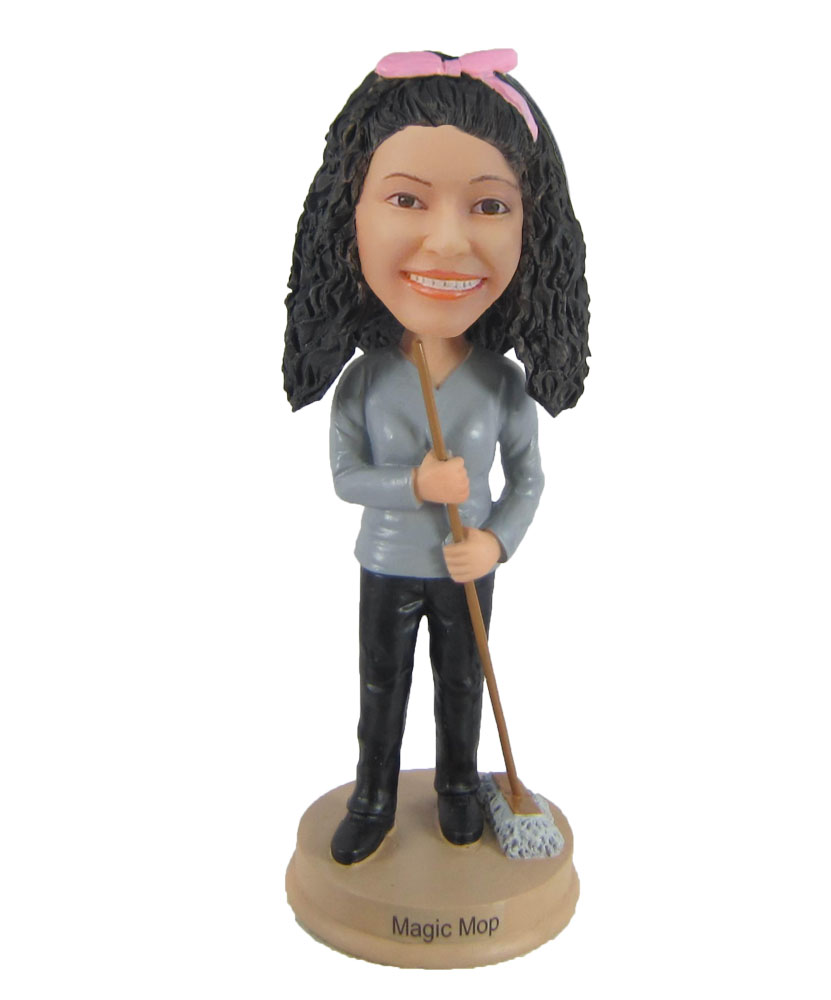 Female clearner Mopping the floor bobbleheads personalized F900
