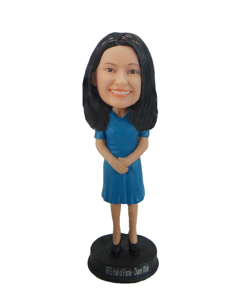 Female in blue petticoat bobblehead doll F984