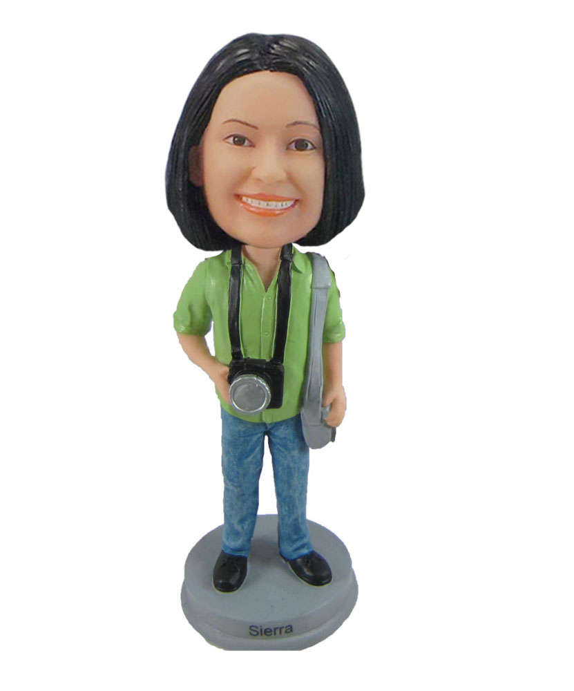 Female with camera Female photographer bobblehead doll F1085